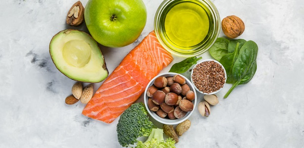 selection of healthy food sources - healthy eating concept. ketogenic diet concept